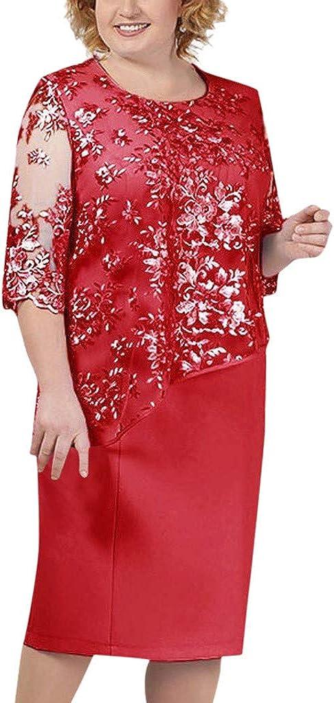 Women Dress Summer Large Lace Stitching Round Neck Half Sleeve Evening Cocktail Midi Dresses