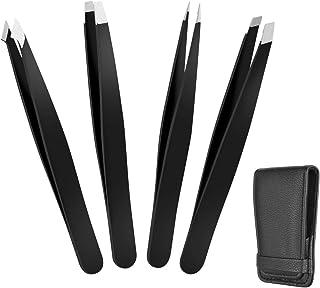GorwRich 毛抜き 眉毛ピンセット 眉毛処理 コスメピンセット ツイーザー メンズ 高級ステンレス製 専用レザーケース付き (4本セット) 使いやすい