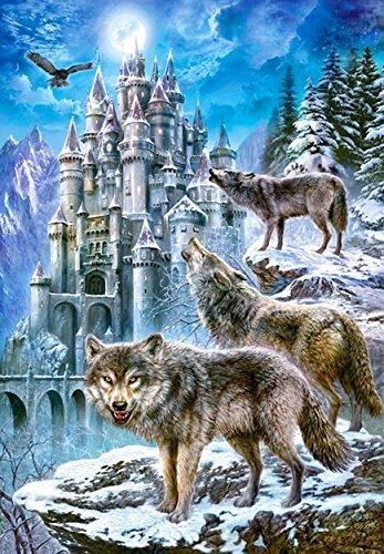 alles-meine.de GmbH Puzzle 1500 Teile - Wölfe am Schloß - im Winter - Schnee / Fabelwelt - Zeichnung gemalt - Wildtiere Wolf Burg Märchen im Winter - bei Nacht mit Mond