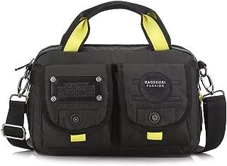 JAKAGO Messenger Bag Water-Resistant Top-Handle Duffel Handbag Casual Shoulder Bag Crossbody Laptop Bag for Camping Trekking Shopping Outdoor Sport (Black)