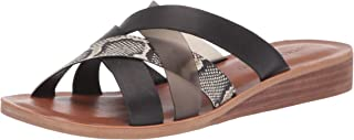 Lucky Brand Women's HALLISA Flat Sandal, Black/Smoke, 6.5 M US