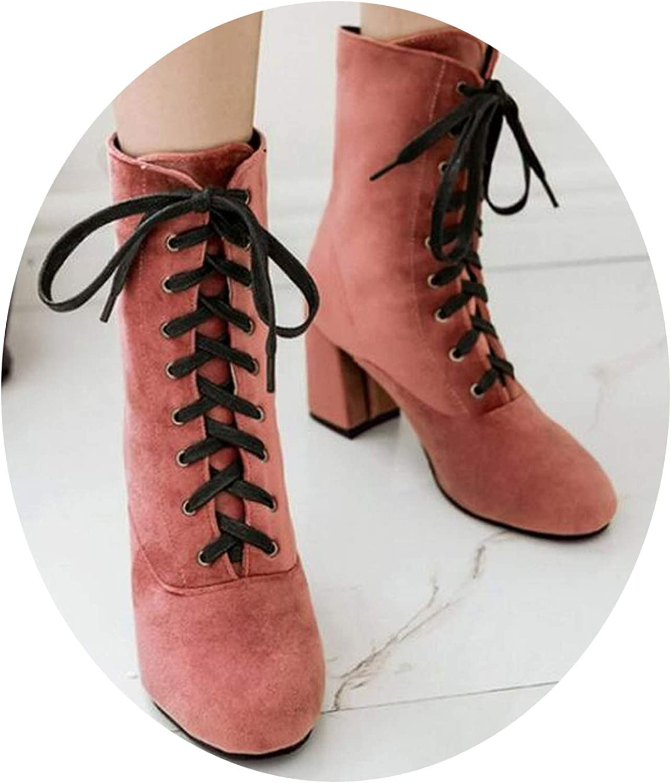 Crazy-shop Women Pumps Ankle Martin Boots Chunky high Heels Punk shoes women lace up C170156