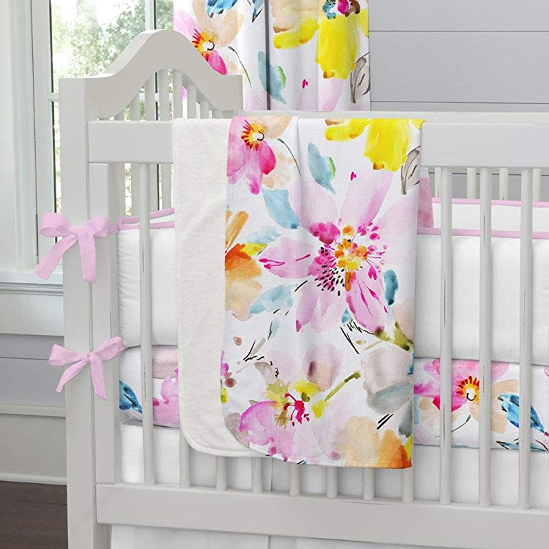 Carousel Designs Watercolor Floral Crib Blanket