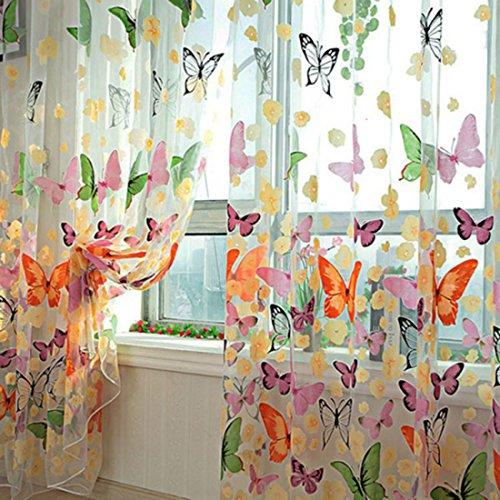 Lommer Vorhang Transparent, 2er 200x100CM Gardinen Set Beflockung Fenstersiebung Voile Schlaufenschal Tüll Fenster Vorhang Garn für Schlafzimmer und Wohnzimmer, Schmetterlingsmuster (Bunt)