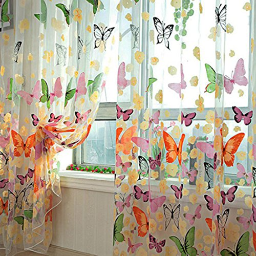 HMANE 1X2M Sheer Voile Butterfly Pattern Shade Curtain Offset Print Tulle Window Door Drape Curtain for Bedroom Living Room Balcony Coffee House (2 Panels)