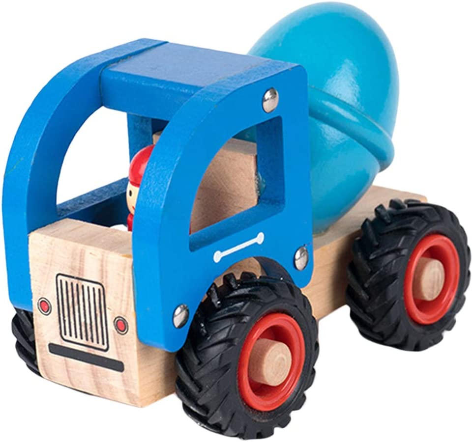 Birthday for Kids Children Boys Girls Blue Fire Truck//Cement Mixer Car Easy to Grab and Push Wooden Car Toy Safe and Natural 12x7x9cm