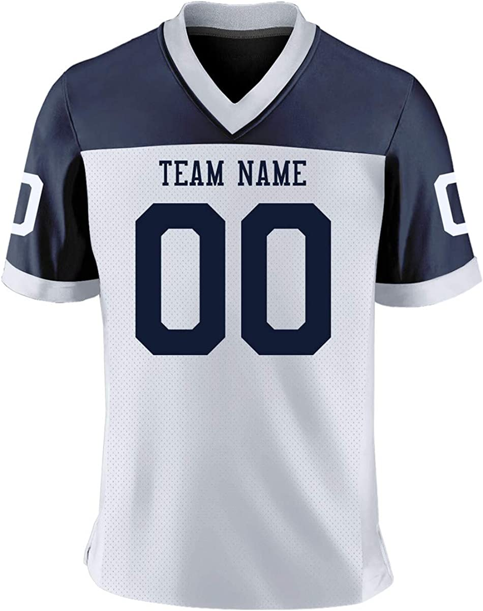 Custom Stitched Football Jerseys,Embroidery Jersey Shirt for Men Women Kids,Add Team Name Number Logo