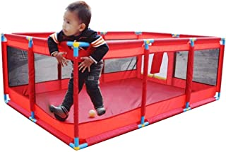 XHJYWL Playpen Baby Portable Play Yard Kids Safety Activity Center Children s Game Fence  66cm Tall  Color RED  Size 190 128cm