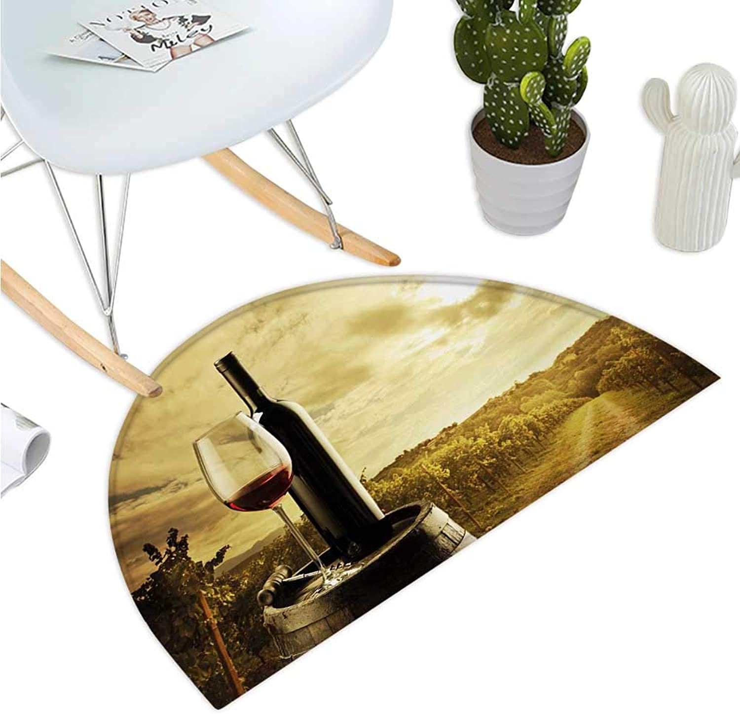 Wine Semicircular Cushion Red Wine Bottle and Glass on Wooden Barrel Dramatic Sky Agriculture Entry Door Mat H 47.2  xD 70.8  Pale Coffee Green Black