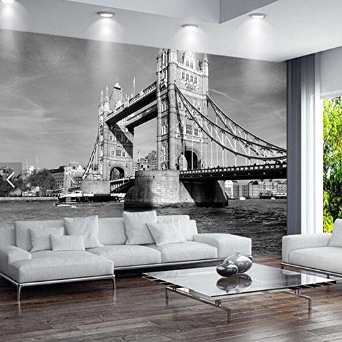 Papel tapiz mural europeo vintage london tower bridge paisaje de la ciudad papel tapiz arte para sala de estar murales fotográficos 3d arquitectura de londres antiguo 400(W) X280(H) Cm