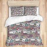 Ttrsudddsyy La Funda nórdica Establece Las sábanas,Casas Sketch en Amsterdam, Juego de Cama de 3 Piezas con 2 Fundas de Almohada, tamaño único 140x200cm (55x78 Pulgada)