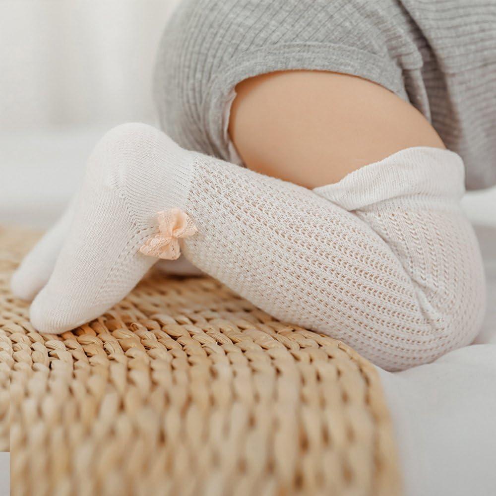 Share Maison 4-Pack Unisex Baby Knit Knee High Cotton Socks Uniform Ruffle Stockings