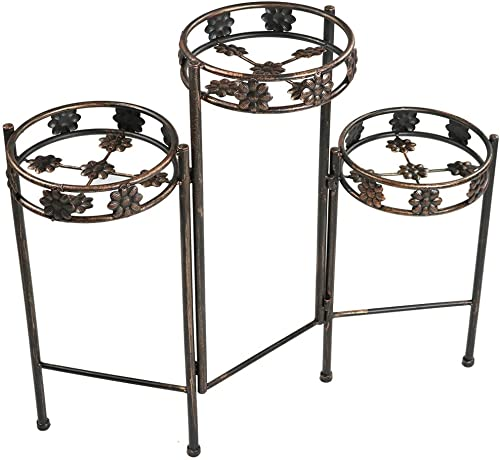 lowest Sunnydaze 3 Tiered Plant Stand - outlet online sale Indoor or Outdoor Plant Holder with Sturdy Metal & Decorative Folding Design - for Garden, Patio, or Inside online The Home - 29 Inch Tall sale