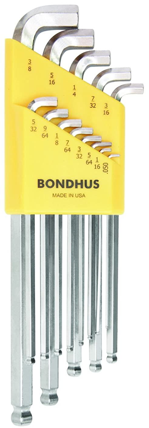 Bondhus 16737 13 Piece Stubby Ball End Tip Hex Key L-Wrench Set with BriteGuard Finish, Long Arm