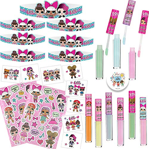 LOL Surprise Wearable Party Favor Pack for 12 with 16 LOL Tiaras, 16 Tattoos, 12 Stickers, 14 Lipgloss and Birthday Pin by Another Dream