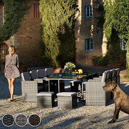 TecTake Poly Rattan 8+4+1 Sitzgruppe | 8 Stühle 4 Hocker 1 Tisch | inkl. Schutzhülle & Edelstahlschrauben | - Diverse Farben - (Schwarz | Nr. 402831) - 2