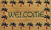 """120401729ヤシの木の境界線Welcome Doormat、17""""×29 75x45cm"""