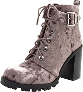 Qupid Women's Lace-Up Ankle Strappy Buckle Chunky Stacked Heel Ankle Bootie (10 B(M) US, Mauve)