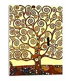 Tangerine Wall | Cuadro de Gustav Klimt, El Árbol de la Vida | 30x40 cm | Sticky para Apoyar o Colgar Sin Agujeros