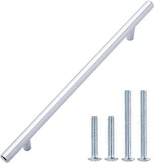 AmazonBasics - Tirador de armario en forma de barra, tipo europeo (9,52 mm de diámetro), 22,07 cm de longitud (centro del orificio de 16,02 cm), Cromo pulido, Paquete de 10