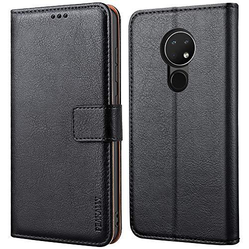 Peakally Nokia 6.2 / Nokia 7.2 Hülle, Premium Leder Tasche Flip Wallet Case [Standfunktion] [Kartenfächern] PU-Leder Schutzhülle Brieftasche Handyhülle für Nokia 6.2-Schwarz