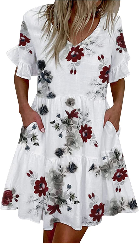 Mini Dress Women's Casual V-Neck Swing Ruffle Sleeve Summer Dress with Procket