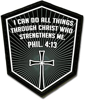 Bastion Tactical Combat Badge PVC Morale Patch Hook and Loop Patch - Phil. 4:13 (Gray)