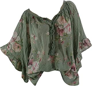 OULSEN Fashion Chic Ruffle Floral Blouse For Women Short Sleeve V-Neck Lacing T-shirt Loose Casual Bat Sleeve Tunic Top Shirt Women Plus Size