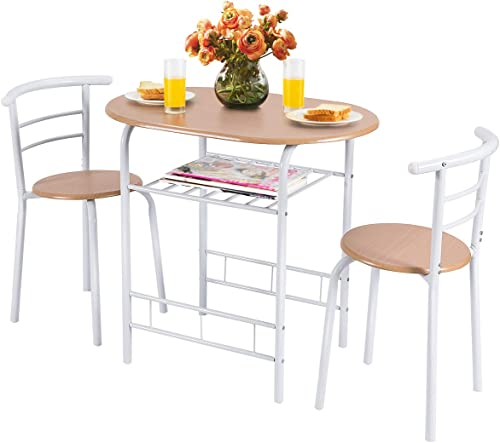 discount Giantex 3 Piece Dining Set Compact 2 Chairs and Table Set with Metal new arrival Frame and Shelf Storage Bistro Pub Breakfast Space Saving for Apartment outlet online sale and Kitchen (White & Natural) sale