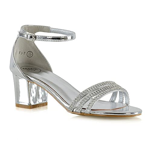 93712f6975b8 New Womens Strappy Sandals Block Low Mid Heel Ladies Diamante Bridal Prom Party  Shoes Size 3