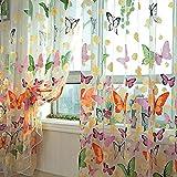 Rideaux De Fenêtre, Porte Fenêtre Rideau Imprimé Papillons Voile Voilages Floral Home Décor Pour Chambre Salon