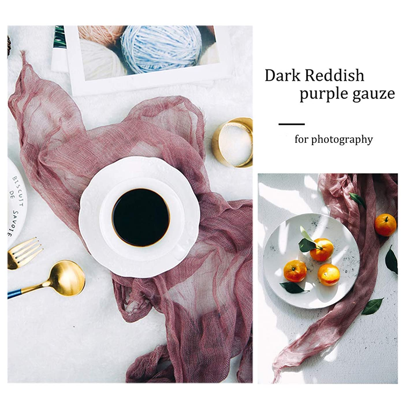 Gauze Napkin 23x35 Inch (60 x 90cm) Cheesecloth Photography Props for Tabletop Food Product Flat Lay Backdrop Paper Photo Studio Background (Reddish Purple)