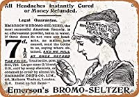 エマーソンのブロモセルツァー頭痛ティンサイン壁鉄絵レトロプラークヴィンテージメタルシート装飾ポスターおかしいポスターぶら下げ工芸品バーガレージカフェホーム