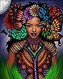 Reofrey Diamond Painting 5D Pintura Diamante Mariposa Flor áfrica Mujer Bricolaje Completo Taladro Arte, Diamantes Imitación Bordado Pegatinas de Pared Decoración de La sala 30x40cm