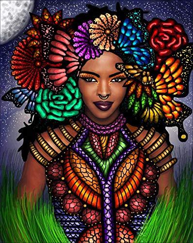 Reofrey 5D Pintura Diamante Mariposa Flor áfrica Mujer Bricolaje Completo Taladro Arte, Diamond Painting Diamantes Imitación Bordado Pegatinas de Pared Decoración de La sala 30x40cm