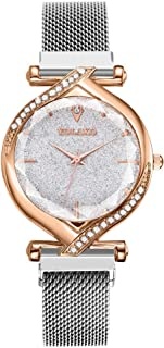 Women's Crystal Rose Gold-Tone and Blush Pink Mesh Watch(Multicolor)