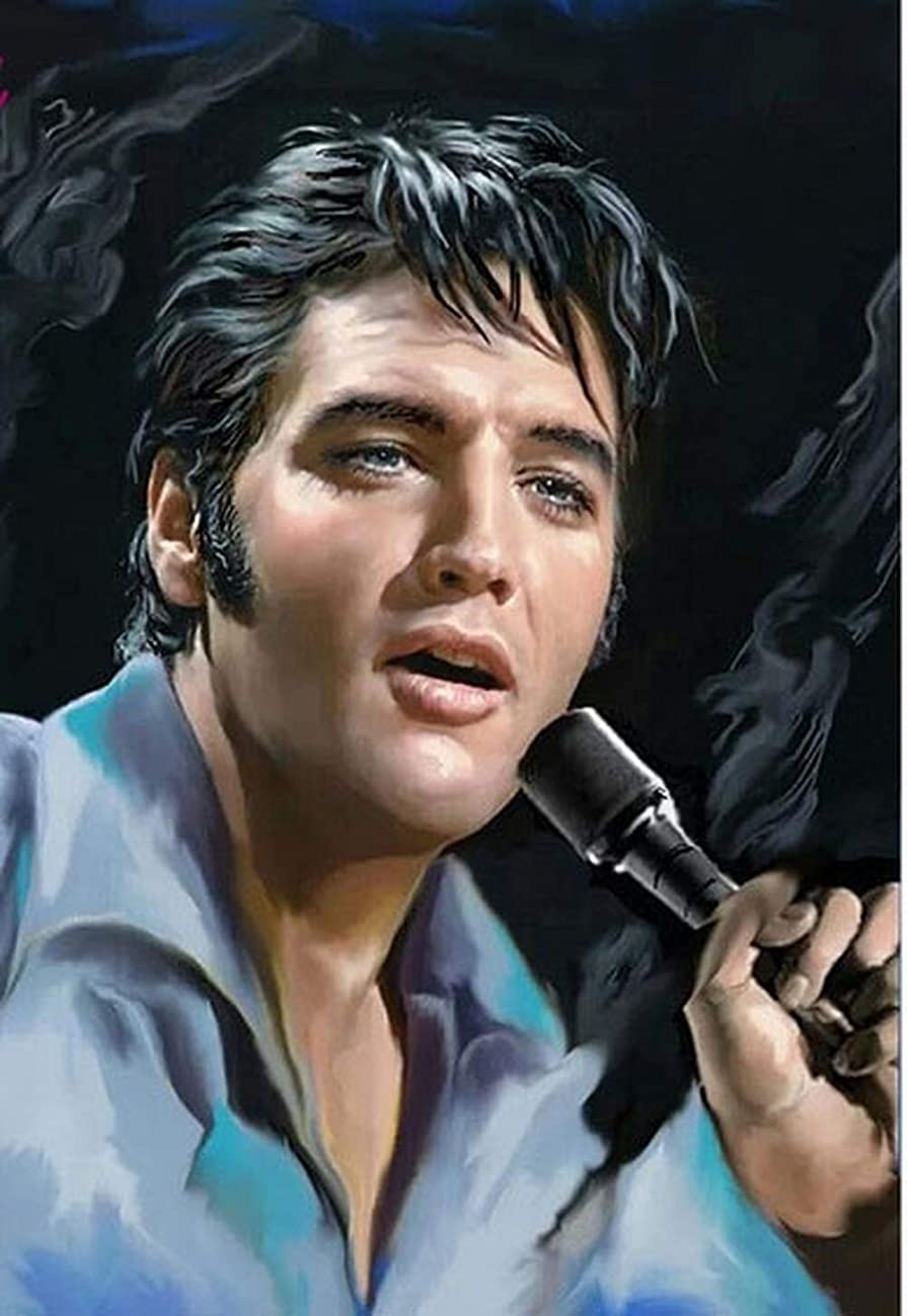 DIY 5D Diamond Painting by Number Kit,Crystal Rhinestone Diamond Embroidery Paintings Cross Stitch for Home Wall Elvis Presley,11.8 X 15.7 Inch