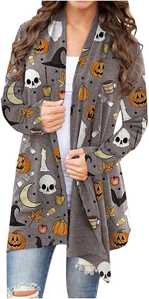 UOCUFY Halloween Cardigan for Women,Lightweight Sweaters Pumpkin Printed Cardigan Top Open Front Long Sleeve Sweatshirts