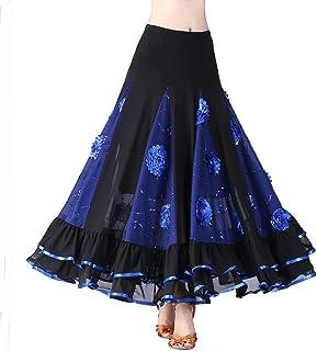 0fa70af68de27 Hongyuangl Jupe Paillettes Floral Latin Flamenco Danse De Salon Robe Tango  Valse Jupe Costume De Scène
