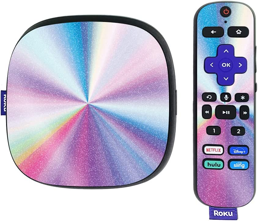 MightySkins Glossy Glitter Skin Compatible with Roku Ultra HDR 4K Streaming Media Player (2020) - Rainbow Zoom | Protective, Durable High-Gloss Glitter Finish | Easy to Apply | Made in The USA
