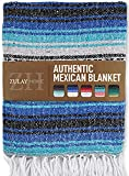 Zulay Home Authentic Mexican Blankets - Hand Woven Yoga Blanket & Outdoor Blanket - Artisanal Boho Blanket & Car Blanket for Beach, Picnic, Camping, or Home Throw Blanket (Blue Dark Light Grey)
