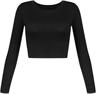 Women's Basic Round Neck Long Sleeve Crop Top