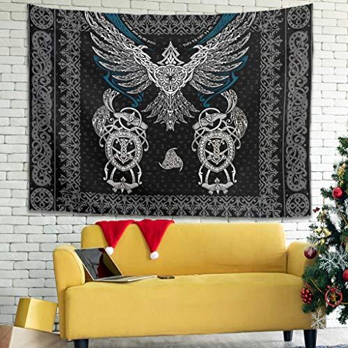 Bannihorse Hippie Viking Eagle Tapiz Tapiz - Beach Tapestry, decoración del hogar para dormitorio o salón blanco 150 x 130 cm