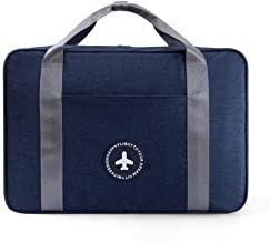 LOMAO Travel Duffel Bag Waterproof Portable Luggage Bag for Business in Trolley Handle(Navy)