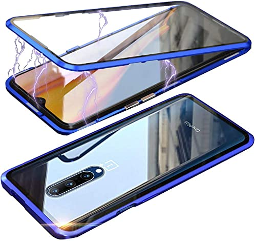 YES2GOOD Back Cover For Oneplus 7 Pro Magnetic Metal Frame Tempered Glass Hard Back Cover With Built In Magnets Bumper Compatible For Oneplus 7 Pro Blue