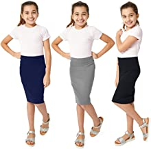 KIDPIK Pencil Skirts 3PACK for Girls - Multi-Color, Soft, Stretchy Cotton- Comfortable Casual & Modest