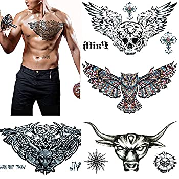Large Tattoos Fake Temporary Body Art Stickers for Men Women Teens VIWIEU 3D Realistic Girls Chest Temporary Tattoos 5 Sheets Water Transfer Body Tattoos