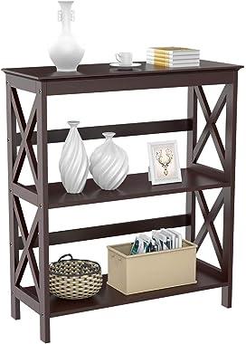 Topeakmart 3 Shelf Wood Montego Bookcase Bookshelf X-Design Storage Shelves Display Rack Stand Shelving Units, Espresso