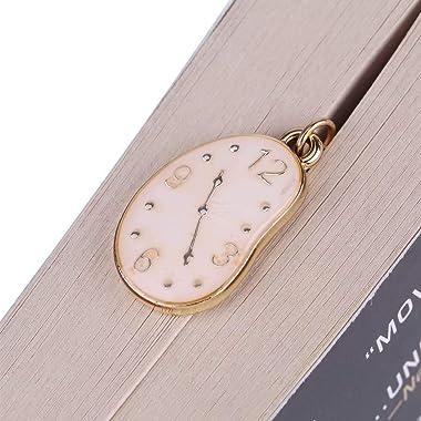 Ctsyuqoo Metal Leaf Golden Bookmark, Handmade Golden Bookmark with Cute Clock Pendant Gift for Women Reader and Kids.