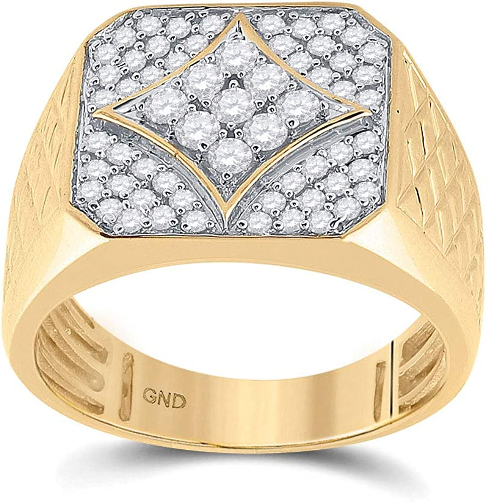 10k Yellow National uniform free shipping Gold Mens Easy-to-use Round Square Ring Diamond Cluster Textured